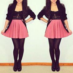 Rock n roll girl pink skirt black leather jacket