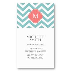 Mint & Coral Zigzags Pattern Monogram Business Card Template