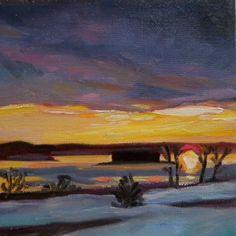 February Sunrise Glow, painting by artist Elizabeth Fraser