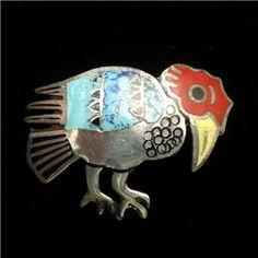 Condor Vulture Bird Pin Sterling Silver Enamel Peru Pendant Bail Vintage