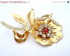ON SALE Vintage Red Rhinestone Floral Brooch Gold Large Flower Pin