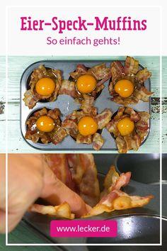 Die perfekte #Idee für den #Osterbrunch. Aus nur 4 Zutaten entstehen tolle Eier-Speck-Muffins! #Rezept #Brunch #Ostern #Frühstück Muffins, Frittata, Food Inspiration, Buffet, Food And Drink, Low Carb, Eggs, Vegetables, Breakfast