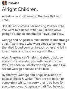 Angelina Johnson, Harry Potter, hp,George Weasley, Roxanne Weasley, the next generation, racism, antiblackness