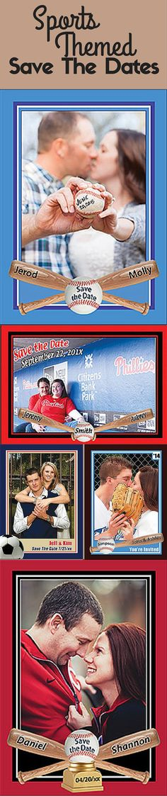 Custom Basebeball, Basketball, and Soccer Themed Save The Dates from Custom Sports Cards http://www.customsportscards.com/select.cfm/Wedding/Save-The-Date-5x7/ sports photography, #photography #sports