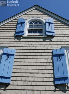 Spruce up a beach house with Board & Batten shutters. Customize with your unique cut-out design! And fitting for a beach theme, choose the Shell Tiebacks. Cottage Shutters, Window Shutters Exterior, Outdoor Shutters, Cedar Shutters, Custom Shutters, Board And Batten Exterior, Board And Batten Shutters, Exterior House Colors, Exterior Paint