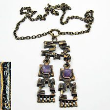 Pentti Sarpaneva Bronze Necklace Vintage Design 2x Amethyst 1950s 1960s Finland