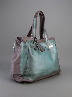 Grey cotton shopper bag from V73 has a contrasting pale green trompe-l'œil print design