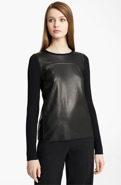 Reed Krakoff Leather Front Knit Sweater | Nordstrom