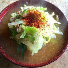 白菜とキャベツの千切りがたくさん入ったチゲ鍋スープ‼︎ 最近はこの一杯の味噌スープで昼まで頑張れま〜す♬ - 58件のもぐもぐ - 糖質制限ダイエットな朝ごはん‼︎ by giacometti1901