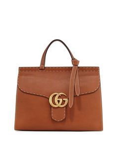 2750 ^ Marmont+Large+Leather+Top-Handle+Bag,+Cuir+by+Gucci+at+Neiman+Marcus.