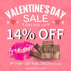 #Dyhair777's Valentine's Day Sale is going on,up to 14% off,website:http://bit.ly/2gcgzsU Email: info@dyhair777.com Whatsapp:+86 159 2057 0234 Pin Code:-----777444----save $10 #dyhair777 #humanhair #hairextension #virginhair #beauty #fashion #salon #hair #dygirl #hairstylist #promotion