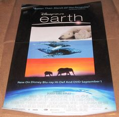 Disney Nature Earth Movie Poster 27x40 Used Narrated By James Earl Jones