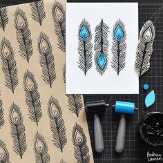 """Yksinkertaisen levyn avulla voit helposti vaikkapa kuvioida paperit, johon päälle painamalla voit toteuttaa kuviosi monivärisenä. Sinun tulee vain työstää useampia levyjä, jotka painat tarkasti oikeille kohdille. Vinkki: Näin voit hyödyntää myös """"hukkapalat"""" joita syntyy levyä muotoillessa!    Andrea Lauren (@inkprintrepeat) #linopainanta #printmaking #taide #kuvataide #ideas"""