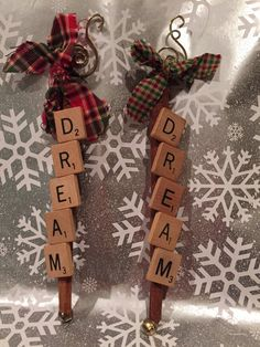 Unique Connamon Stick Scrabble Letter Ornament by AdorningDelights Diy Xmas Gifts, Handmade Christmas Decorations, Christmas Ornament Crafts, Craft Stick Crafts, Christmas Projects, Holiday Crafts, Tile Crafts, Christmas Ideas, Craft Ideas