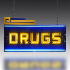 Vintage neon Drugs sign from The Games Room Company's Lighting selection Vintage Neon Signs, Pharmacy, Game Room, Signage, Drugs, Bright Lights, Band, Games, Products