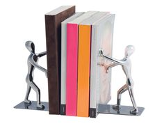 Keep your books under control with this set of two pushing men bookends. The two metal figures stand securely on a metal base and work hard to keep your favourite volumes upright at all times. Eye-catching, fun and very useful, these two guys never take a break. £34.95
