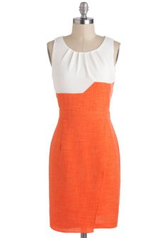 Conference in Rio Dress - Sheer, Mid-length, Orange, White, Work, Colorblocking, Sheath / Shift, Sleeveless, Tis the Season Sale