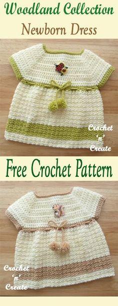 Pretty free baby crochet pattern for Newborn dress. #crochet
