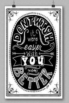 Jim Rohn Quote Art Print Don't Wish It by HandPulledSilkScreen