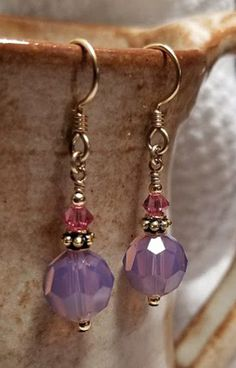 Handmade Earrings - 14K Gold Filled Earwires, Purple Pink Swarovski Drops #MartinMadeBeadThings #DropDangle