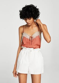 Discover the latest trends in Mango fashion, footwear and accessories. Shop the best outfits for this season at our online store. Mango Looks, Top Lingerie, Mango Fashion, Manga, Lace Tops, Shirt Outfit, Dress To Impress, Fashion Online, Lace