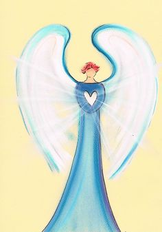 Guardian angel sending out light from heart to heart. Get your own intuitive angel drawing of your angel: www.angelsco.nl