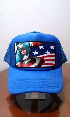 f09c98db7ca Captain America Avengers Mesh Hat Snapback Adjustable Trucker Cap Comic Logo  New  Trucker Snapback