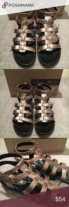 Clarks Manilla Parham gold metallic sandals New in Box  Comfort gladiator sandals Clarks Shoes Sandals