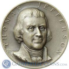 President Thomas Jefferson Silver Art Medal - Medallic Art http://www.gainesvillecoins.com/category/293/silver.aspx