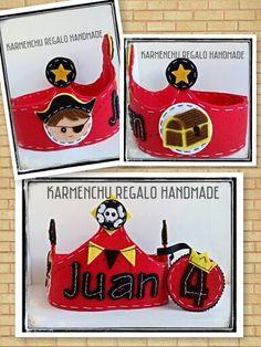 Corona de Cumpleaños  Pirata Sigueme en facebook  KARMENCHU REGALOS HANDMADE Ideas Cumpleaños, Baby Ideas, Pirate Birthday, Pirates, Facebook, Sewing, Crochet, Handmade, Birthday Wreaths