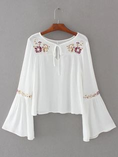 design of blouse Shop White Flower Embroidery Tie Neck Bell Sleeve Blouse online. SheIn offers White Flower Embroidery Tie Neck Bell Sleeve Blouse & more to fit your fashionable needs. Bell Sleeve Blouse, Bell Sleeves, Blouse Neck, Boho Fashion, Fashion Outfits, Style Fashion, Bohemian Mode, Hippie Boho, Embroidered Clothes