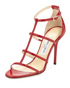 Dory Patent Leather Cage Sandal, Red by Jimmy Choo at Neiman Marcus.