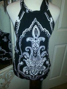 White House Black Market Ladies jersey knit halter top blouse.  Black/white Sz S #WhiteHouseBlackMarket #Halter #Casual