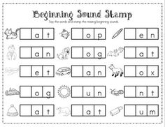beginning sounds and middle sounds worksheets - Mrs. Ricca's Kindergarten: Literacy Center Freebie