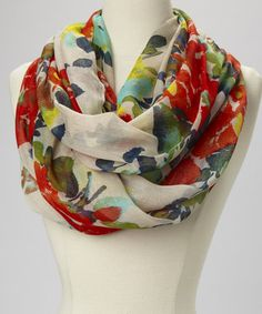 Take a look at this White Floral Infinity Scarf by fantas-eyes on #zulily today! $10 !!