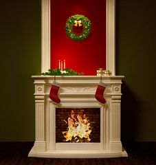 Christmas night interior with fireplace 3d rendering
