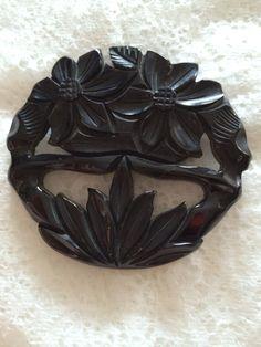 Ink Black 1940s Bakelite Brooch