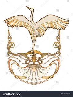 bird design Art Inspiration is part of Best Drawing Design Inspiration Birds Images Bird - Frame and bird in art nouveau style In traditional color Vector illustration Motifs Art Nouveau, Motif Art Deco, Art Nouveau Pattern, Art Nouveau Design, Design Art, Art Nouveau Mucha, Art Nouveau Tattoo, Jugendstil Design, Art Nouveau Illustration