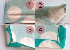 """How to sew easy cloth napkins with perfect corners tutorial.  Just tried it and it works well.  Use 3/4"""" or 5/8"""" hem instead of 1"""" tho."""