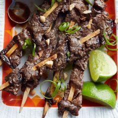 Beef Satay with Hoisin Dipping Sauce... Low cal and low fat... I have made this and it is actually very good...Next time I will marinate it over night...