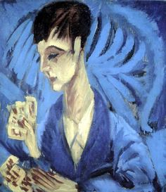 Ernst Ludwig Kirchner, Le joueur de cartes. 1914, Oil on canvas, 62.5 x 69.5 cm, Halle Moritzbg RM 3,500. This painting was banned by the Nazi regime and exhibited at the Degenerate art exhibition in Munich in 1937.