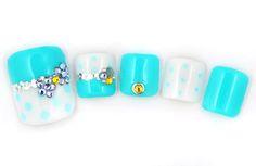 Aqua blue - White - Polka dots - Silver confetti - Color rhinestones - Toenail design