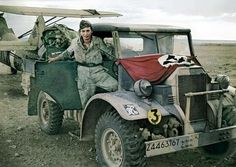 Ain-el-Gazala, Libya, April 1941: a German aircraftman on the driver's seat of a truck CMP Ford F15 likely of the British Army's 2nd Armoured Division captured intact after her defeat at el-Mechili.