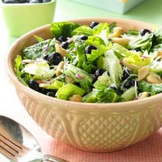 Blueberry Romaine Salad Recipe from Taste of Home -- shared by Kris Bristol of Charlotte, Michigan