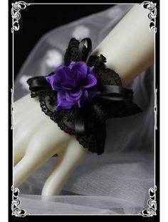 Black Lace Purple Rose Gothic Lolita Bracelet - Devilnight.co.uk