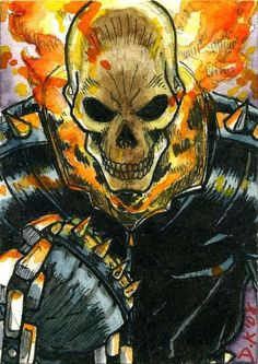 Ghost Rider Sketch Card by DKuang on DeviantArt Dc Anime, Anime Comics, Marvel Comics, Ghost Rider Johnny Blaze, Ghost Rider Marvel, Marvel Comic Character, Character Art, Gost Rider, Ghost Rider Pictures