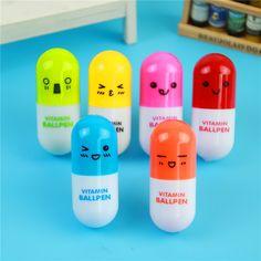 무료 배송 귀여운 귀엽다 캡슐 창조적 알약 볼 볼펜 볼펜 학교 용품 문구 1003