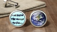 Wedding Cufflinks You Mean The World To Me by OurCufflinkShop Wedding Cufflinks, You Mean The World To Me, Father Of The Bride, Wedding Favours, Groomsmen, Fancy, Handmade Gifts, Etsy, Beautiful