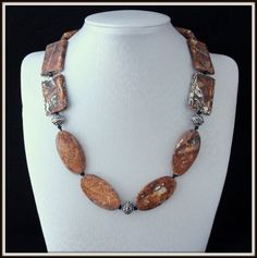 Beautiful Knotted Jasper Necklace with Vintage silver by Fagiano, $90.00