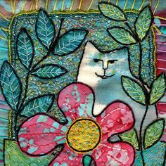 Cat in garden, Small Mixed Media Original Art Quilt  Free Shipping by theartroom,